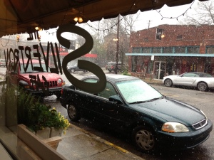 Snow falling during Alabama Bloggers lunch at Silvertron Cafe